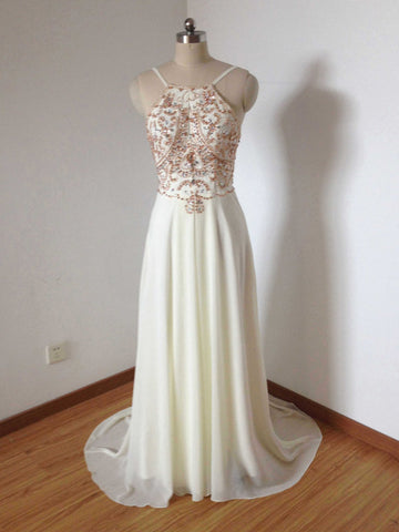 Chic Spaghetti Straps Prom Dress A-line Beading Chiffon Prom Dress Party Dress AMY065