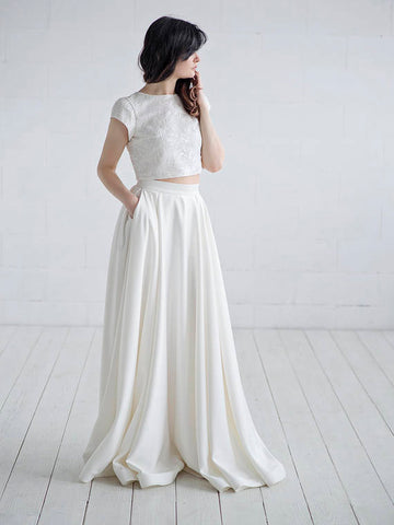 Chic Two Pieces Wedding Dress Ivory Short Sleeve Prom Dress Wedding Dress AMY066