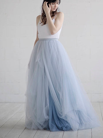 Chic Blue Wedding Dress A-line Spaghetti Straps Simple Prom Dress Wedding Dress AMY067