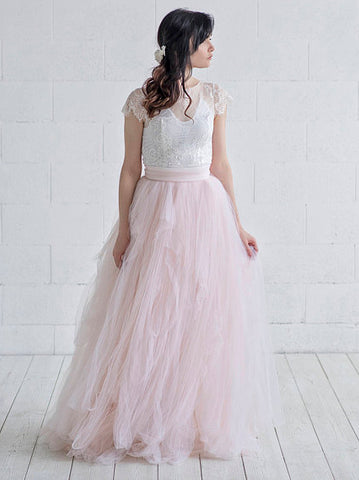 Chic Pink Wedding Dress A-line Scoop Lace Short Sleeve Prom Dress Wedding Dress AMY068