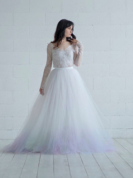 Chic Lace Wedding Dress A-line V-neck Long Sleeve Prom Dress Bridal ...