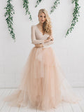 Chic Lace Wedding Dress A-line V-neck Long Sleeve Prom Dress Bridal Dress AMY071