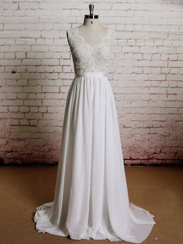 Chic Ivory Prom Dress A-line Lace Sleeveless Chiffon Prom Dress Wedding Dress AMY072