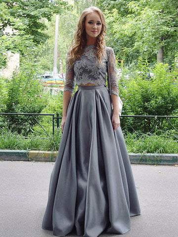 Chic Prom Dresses Two Piece Scoop Lace Prom Dress Silver Evening Dress AMY074