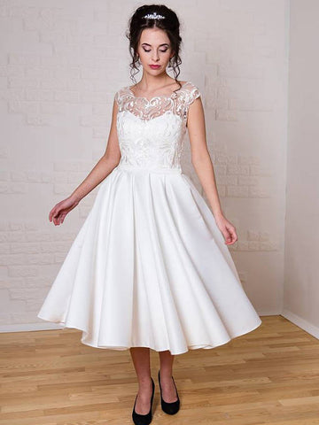 Chic Tea Length Wedding Dresses A-line Scoop Applique Unique Wedding Dress AMY077