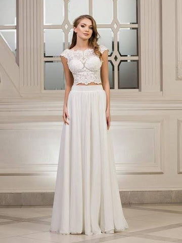 Chic Two Pieces Wedding Dress Long Bateau Tulle Cheap A Line Wedding Dress AMY079