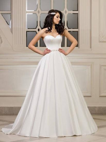 Chic Ivory Wedding Dress Long Bateau Satin Cheap A Line Sweetheart Wedding Dress AMY080