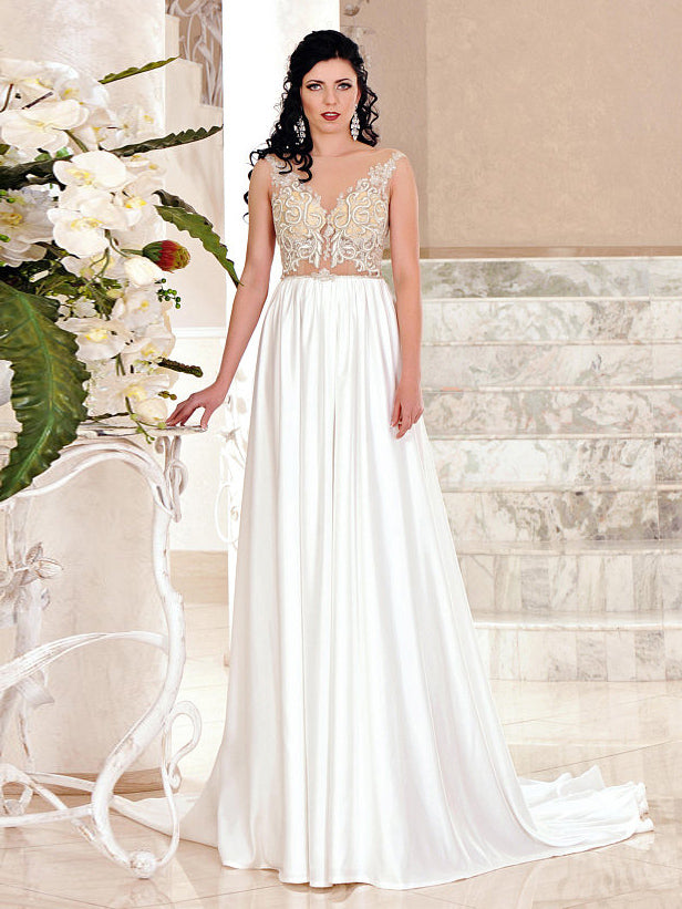 Chic Long Wedding Dress Bateau Tulle Cheap A Line Modest Wedding Dress 2018 AMY082