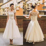 Chic Tea Length Wedding Dresses A-line Scoop Lace Romantic Wedding Dress AMY089