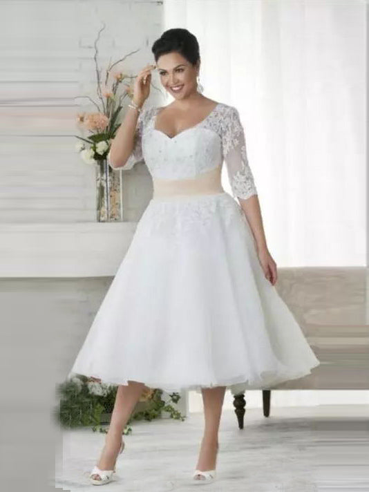 Chic Tea Length Wedding Dresses A Line Half Sleeve V Neck Lace Wedding Amyprom