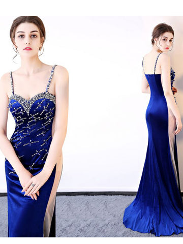Chic Prom Dresses Long Spaghetti Straps Royal Blue Prom Dress Mermaid Evening Dress AMY095