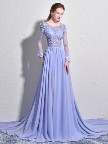 Chic Prom Dresses Long Scoop Lilac Prom Dress With Sleeves Evening Dress AMY096
