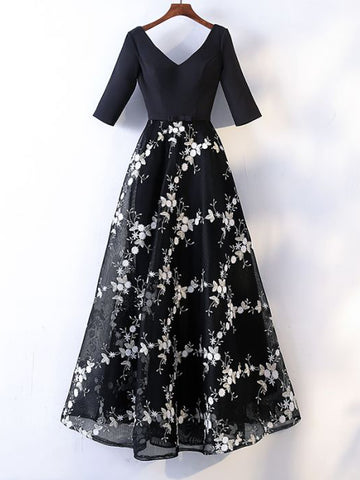 Chic Black Prom Dresses Long A line V neck Applique Beautiful Prom Dress AMY097