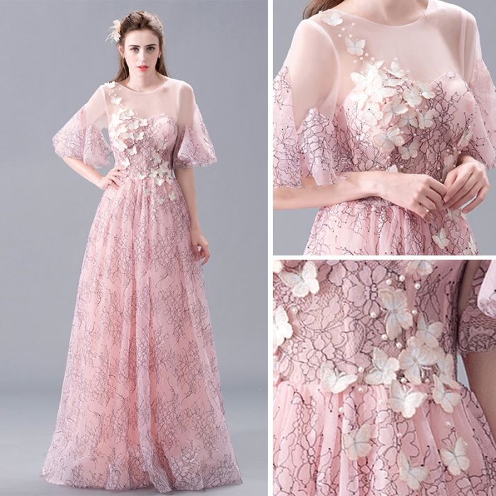 Chic Pink Prom Dresses Long A line Scoop Applique Beautiful Prom ...