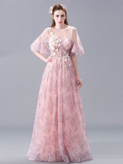 68112f1b64dc Chic Pink Prom Dresses Long A line Scoop Applique Beautiful Prom Dress –  AmyProm