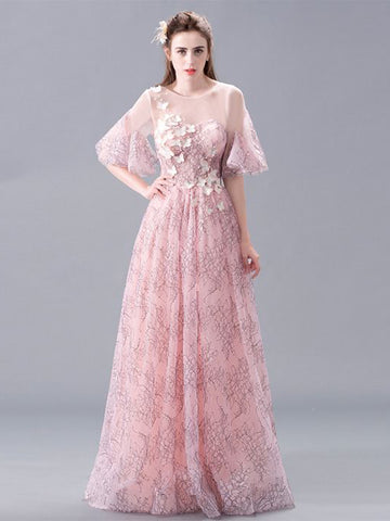 Chic Pink Prom Dresses Long A line Scoop Applique Beautiful Prom Dress AMY098