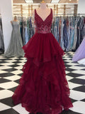 Burgundy Prom Dress V neck Beads Long Prom Dresses Modest Long Evening Dress AMY1002