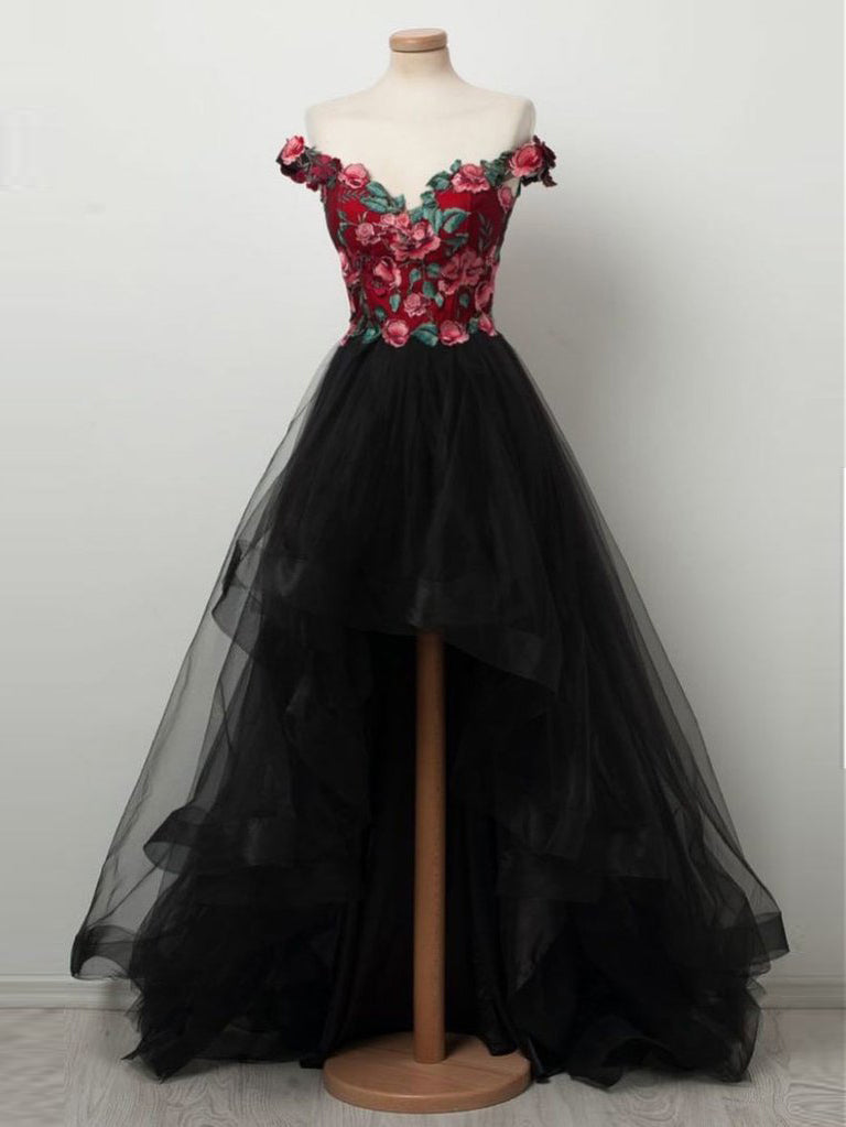 Black Prom Dress Off-the-shoulder Applique Floral Long Prom Dresses Modest Long Evening Dress AMY1003