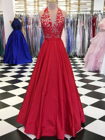 Red Prom Dress A-line Halter Applique Long Prom Dresses Beautiful Long Evening Dress AMY1004