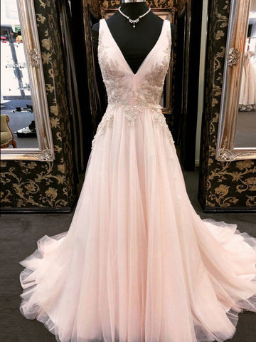 Pink Prom Dress A-line V neck Beads Blush Long Prom Dresses Beautiful Long Evening Dress AMY1005