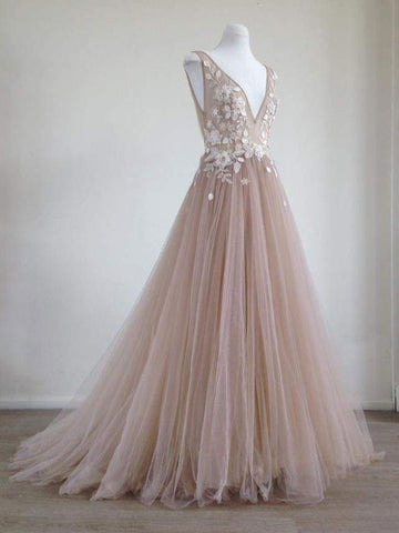 Princess Prom Dress A-line V neck Applique Tulle Long Prom Dresses Beautiful Evening Dress AMY1007