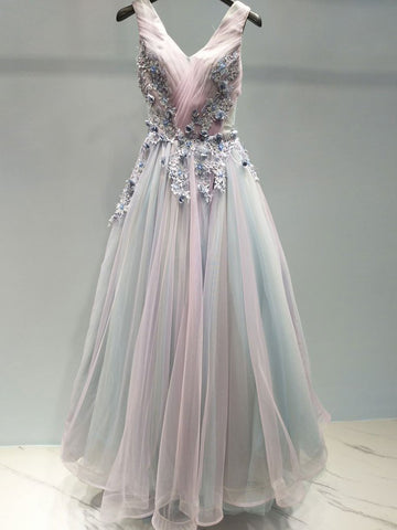 Beautiful Prom Dress A-line V neck Applique Ombre Tulle Long Prom Dresses Evening Dress AMY1008