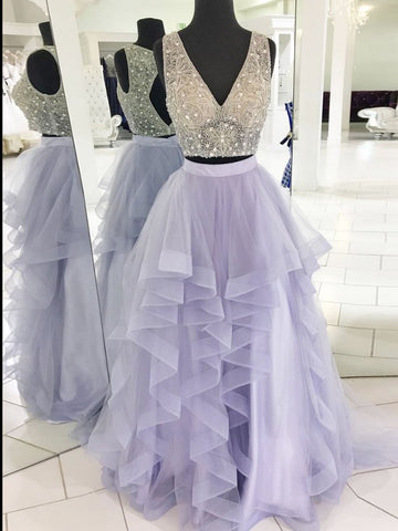 Two Pieces Prom Dress A-line V neck Beads Lilac Tulle Long Prom Dresses Evening Dress AMY1009