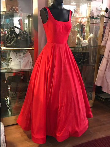 Simple Red Prom Dress A-line Square Cheap Taffeta Long Prom Dresses Evening Dress AMY1010