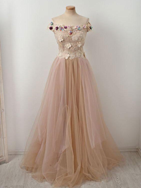 Elegant Prom Dress A-line Off-the-shoulder Tulle Lace Floral Long Prom Dresses Evening Dress AMY1013