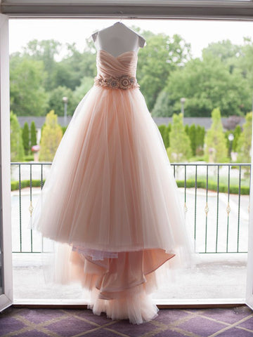 Blush Prom Dress Sweetheart Sweep/Brush Train Ruffles Tulle Prom Dresses Long Evening Dress AMY1014