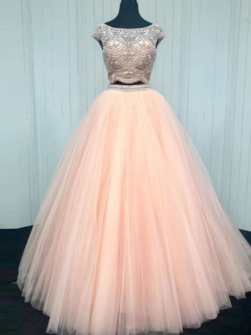 Two Pieces Prom Dress Bateau A-line Beads Tulle Blush Prom Dresses Long Evening Dress AMY1017