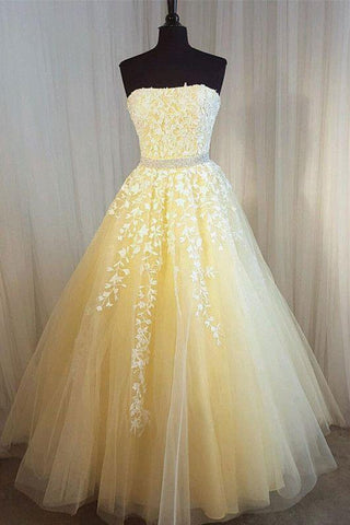 A-line Prom Dress Strapless A-line Applique Tulle Daffodil Prom Dresses Long Evening Dress AMY1018