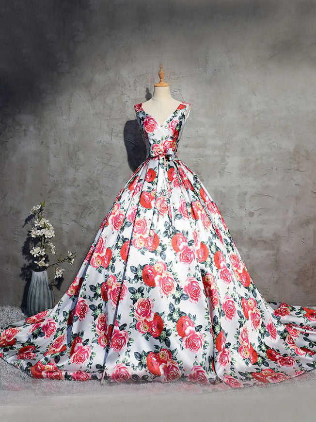 2018 Ball Gowns Prom Dresses Long V neck Red Floral Prom Dress Evening Dresses AMY101