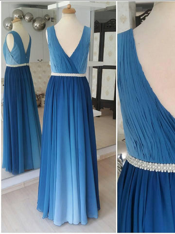 A-line Prom Dress Blue V neck Chiffon Elegant Ombre Prom Dresses Long Evening Dress AMY1021