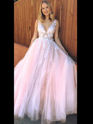 Blush Prom Dress Applique V neck Tulle Elegant Pink Prom Dresses Long Evening Dress AMY1022