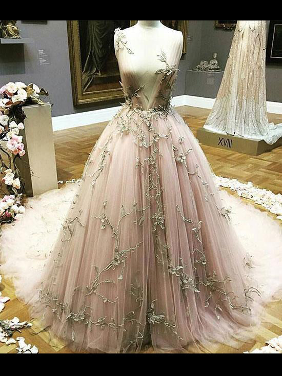 Blush Prom Dress Applique Deep V neck Sweep/Brush Train Pink Prom Dresses Long Evening Dress AMY1023