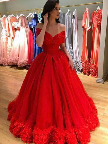 Red Prom Dress Off-the-shoulder Elegant Tulle Prom Dresses Long Evening Dress AMY1024