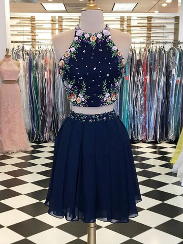 Two Pieces Homecoming Dress Dark Navy Scoop Floral Elegant Short Prom Dresses Homecoming Dress AMY1026