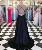 White Prom Dress A-line Floral Embroidery Spaghetti Straps Elegant Prom Dresses Long Evening Dress AMY1027