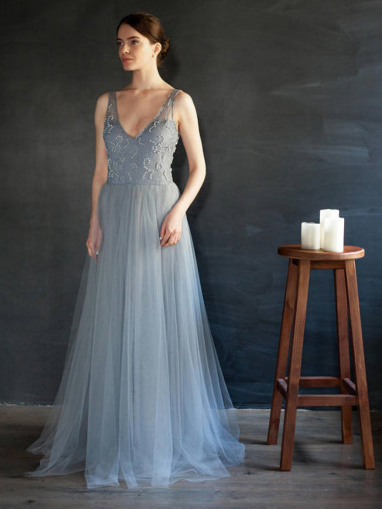 Chic Blue V neck Prom Dress A-line Tulle Beads Lace Elegant Prom Dresses Long Evening Dress AMY1029