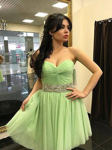 Green Sweetheart Neck Chiffon Short Prom Dress, Cute Homecoming Dress AMY1035