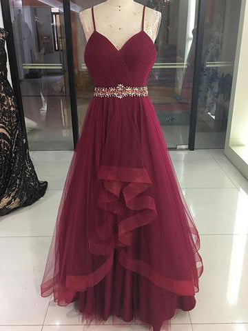 Chic Burgundy Prom Dress A-line Spaghetti Straps Tulle Floor Length Beads Long Prom Dresses Evening Dress AMY1037