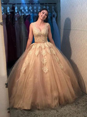 Chic Ball Gowns Prom Dress A-line Straps Floor Length Lace Modest Long Prom Dresses Evening Dress AMY1039
