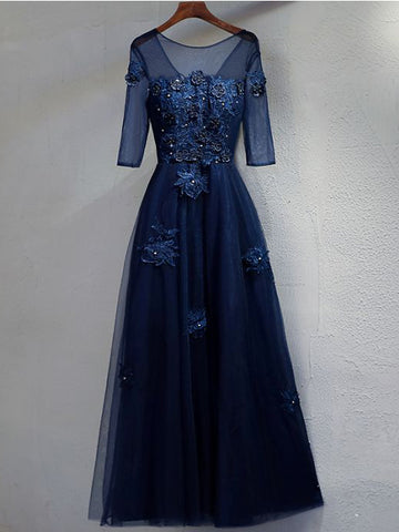 Dark Navy Prom Dresses Long A-line Half Sleeve Beautiful Prom Dress Evening Dress AMY103