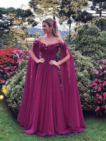 Chic A-line Prom Dress Off-the-shoulder Chiffon Floor Length Long Prom Dresses Evening Dress AMY1041
