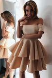 Chic Short Prom Dress A-line Off-the-shoulder Short/Mini Short Prom Dresses Cocktail Dresses AMY1045