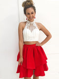 Chic Two Pieces Short Prom Dress A-line High Neck Red Short Prom Dresses Cocktail Dresses AMY1047