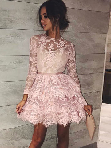 A-line Scoop Long Sleeve Short Prom Dress With Lace Pink Homecoming Dress AMY1048