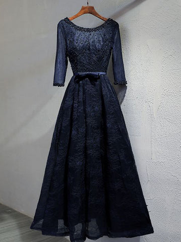 Dark Navy Prom Dresses Long A-line Half Sleeve Beautiful Prom Dress Evening Dress AMY104