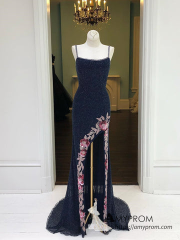 Chic Spaghetti Straps Dark Navy Prom Dress Beaded Long Prom Dresses Slit Long Evening Dress AMY1051